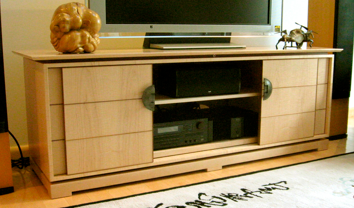 Above: A Large Sliding Door Shoji Cabinet On The Standard Low Base. Curly  Maple Cabinet Body, Base, U0026 Floating Top,
