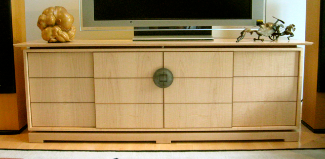 Above A Large Sliding Door Shoji Cabinet On The Standard Low Base Curly Maple Body Floating Top